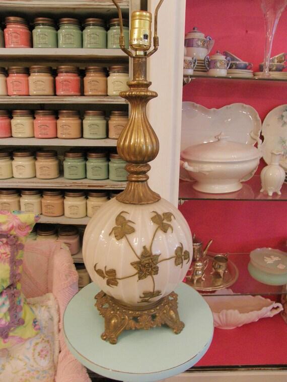 mid century lamp karl falkenstein vintage1960s white milk glass modern ornate base gold