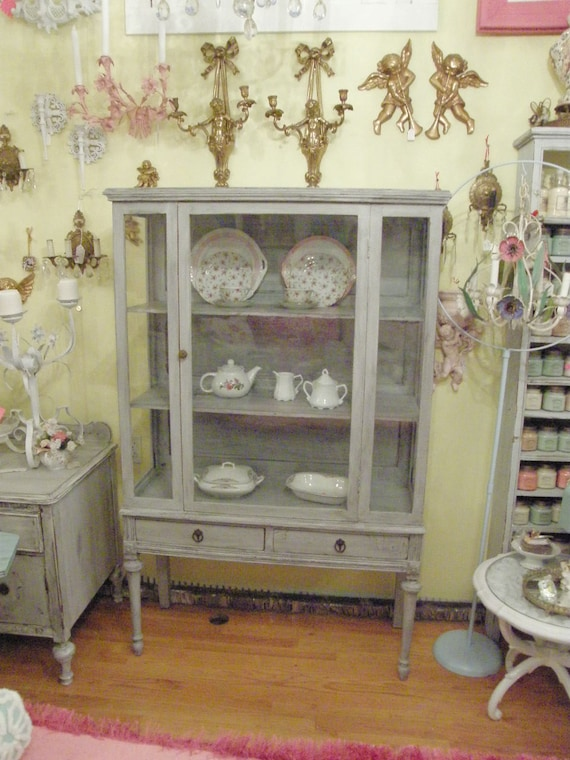 antique shabby chic china cabinet french gray distressed coastal cottage display