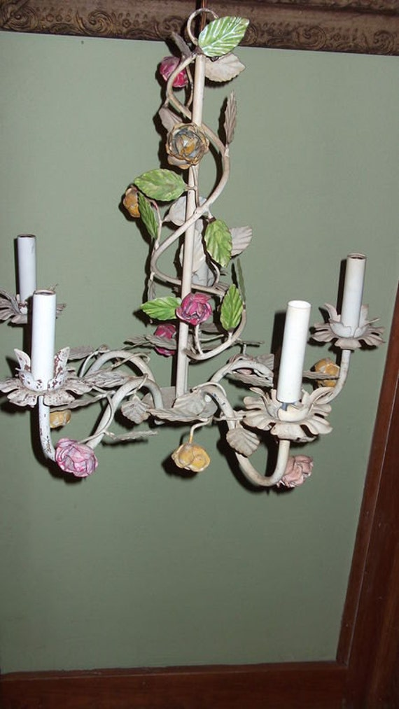 vintage white shabby chic tole roses chandelier chippy rusty cottage prairie lighting