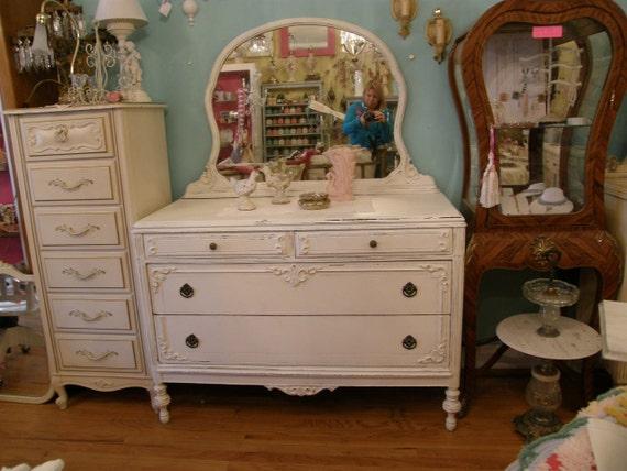 FAB antique chic dresser shabby white distressed cottage prairie bedroom vintage