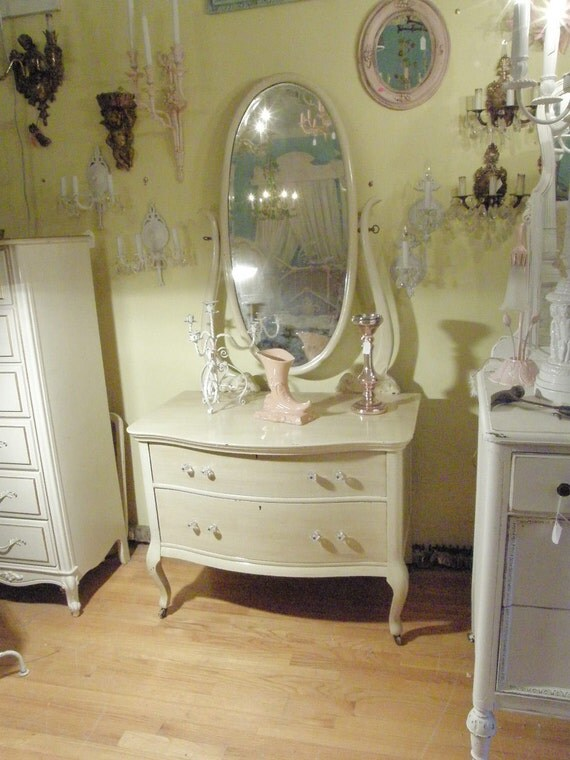 Chic Antique Dresser Shabby Ivory Off White Oak Mirror Cottage