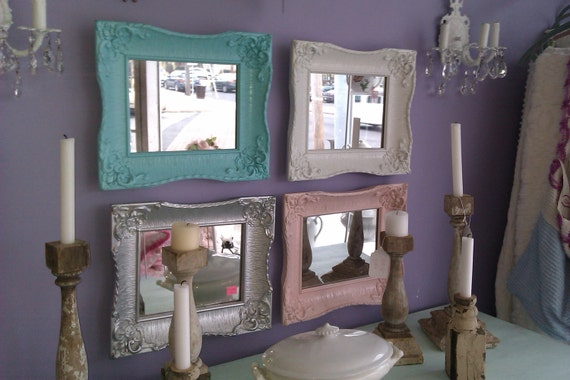 vintage mirror frame s shabby chic silver white pink aqua blue gloss antique set of 4
