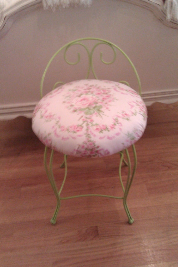 shabby chic vanity stool lime green pink bench cottage metal. Black Bedroom Furniture Sets. Home Design Ideas