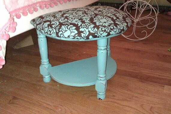 shabby chic  foot step stool aqua turquoise tiffany blue beach cottage damask