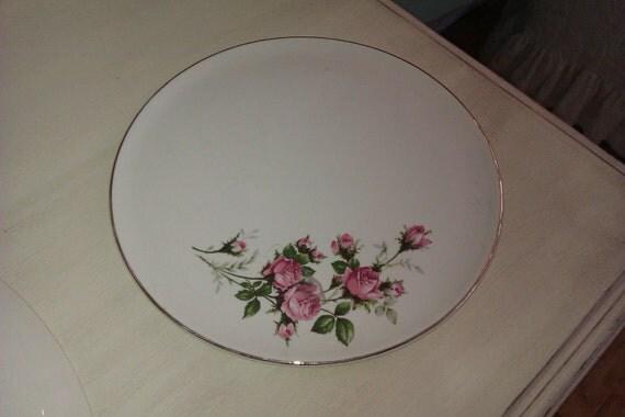 vintage shabby chic pink rose cake plate server cottage china pottery hall primrose