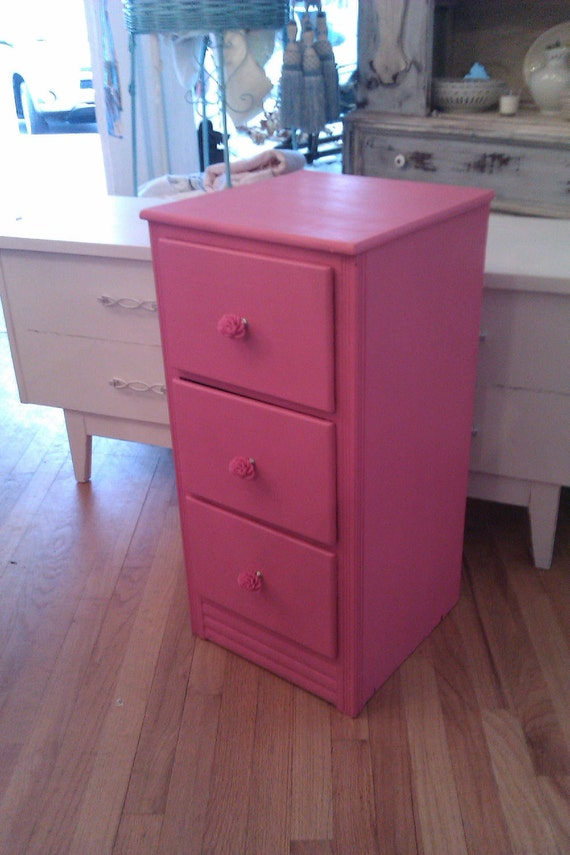 vintage chic nightstand hot pink roses chic chest of drawers side table cottage girls paris