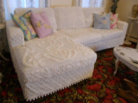 shabby couch sofa sectional chic white vintage chenille. Black Bedroom Furniture Sets. Home Design Ideas