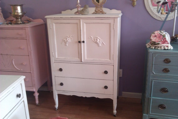 antique dresser shabby vintage chic white distressed cottage vintage prairie painted bird ribbon tall