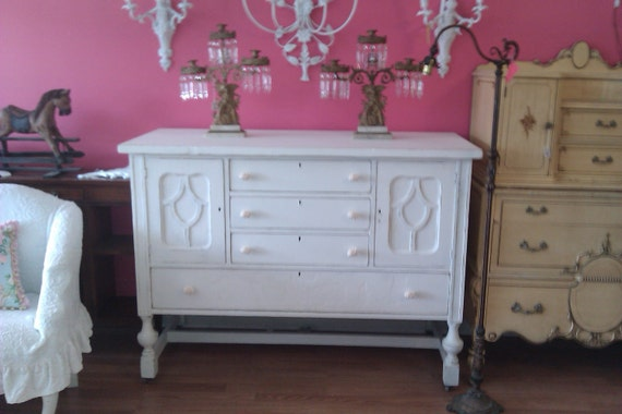 buffet shabby chic antique server white distressed tv cottage prairie dining entertainment
