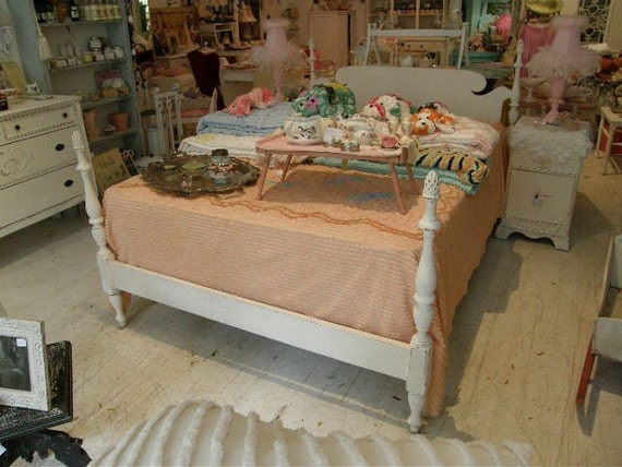 SALE Vintage full size maple 4 post bed frame White Shabby Chic Distressed