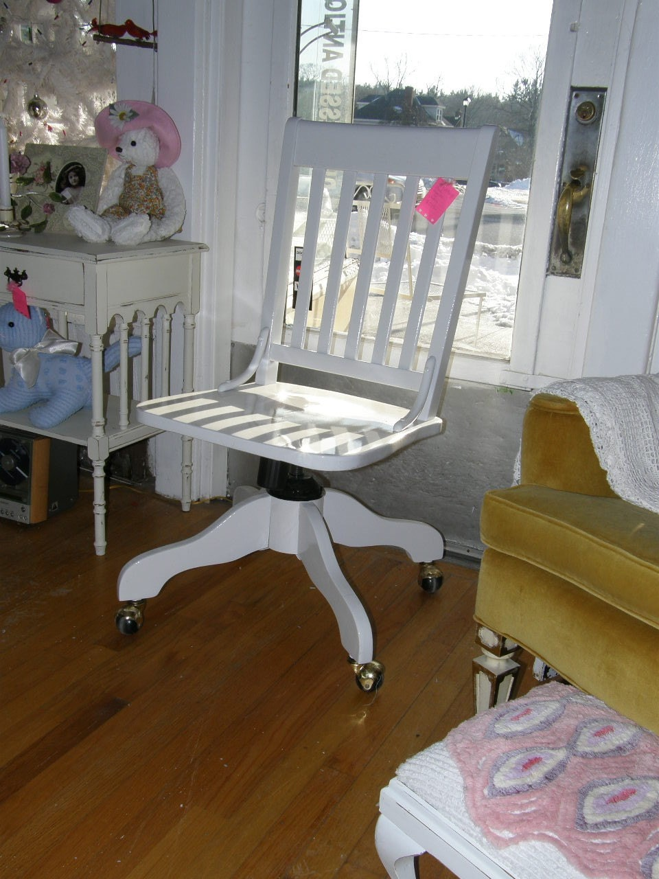 shabby chic white desk chair vintage office cottage hi gloss. Black Bedroom Furniture Sets. Home Design Ideas