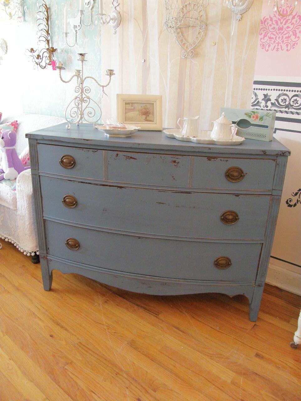 Vintage shabby chic dresser historic blue grey distressed - Gray shabby chic furniture ...