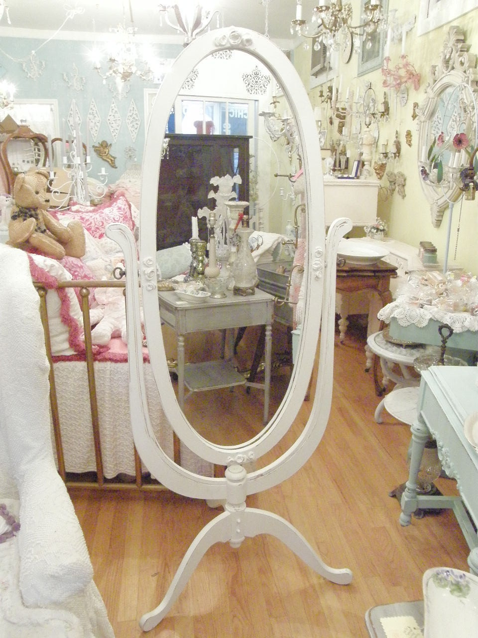 Shabby Chic Mirror Cheval Standing Floor White Distressed