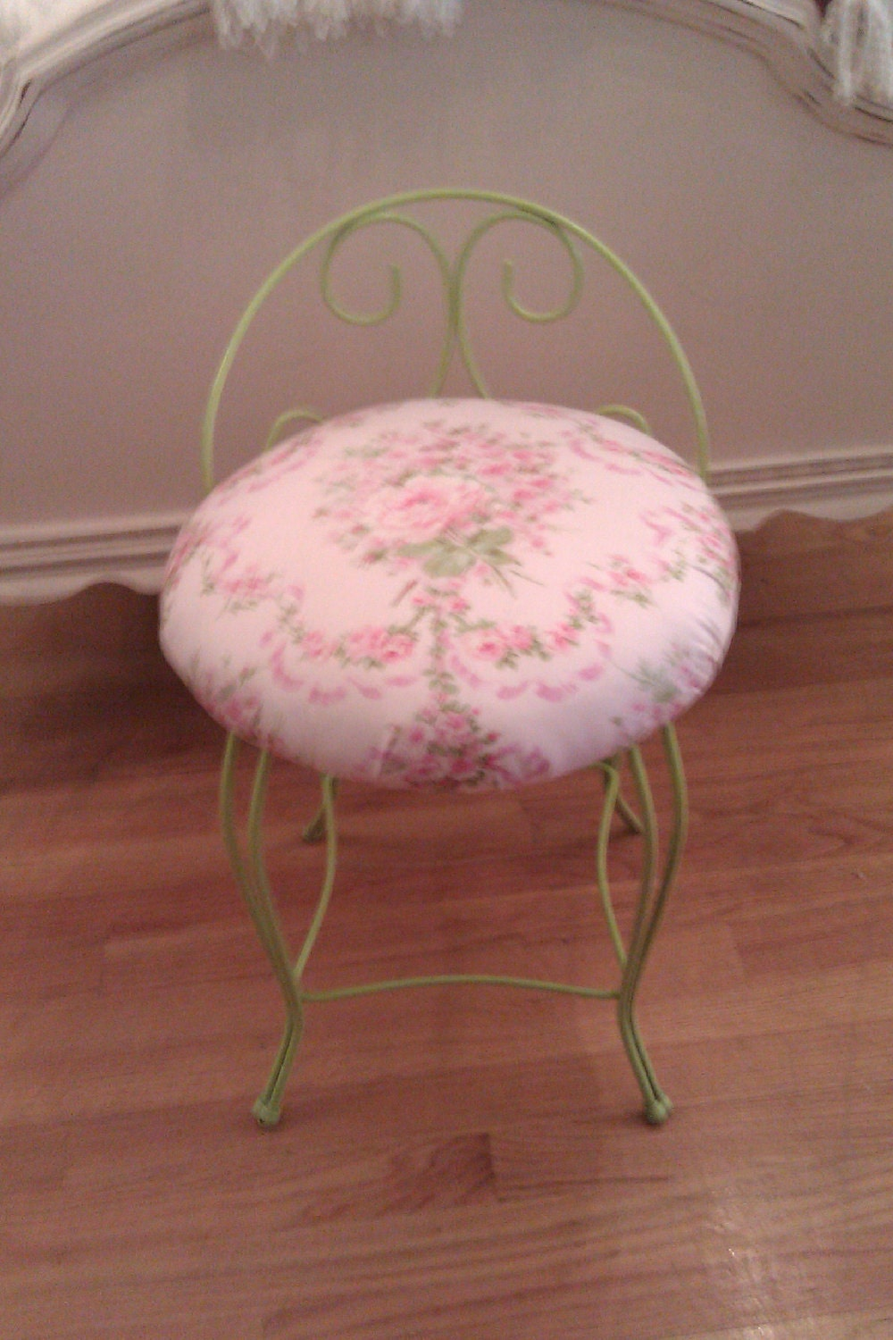 Shabby Chic Vanity Stool Lime Green Pink Bench Cottage Metal