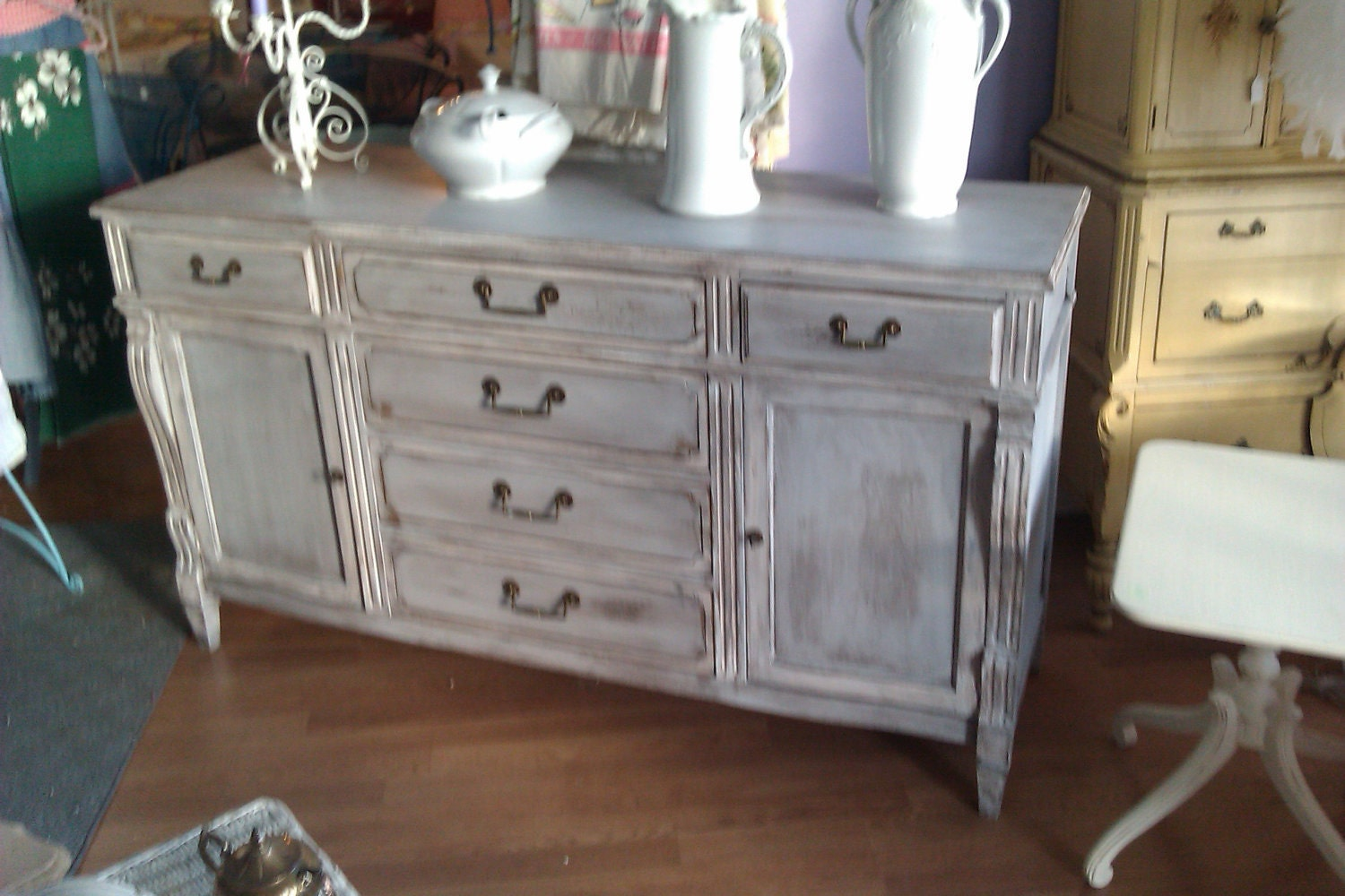 vintage chic buffet french shabby distressed gray server. Black Bedroom Furniture Sets. Home Design Ideas