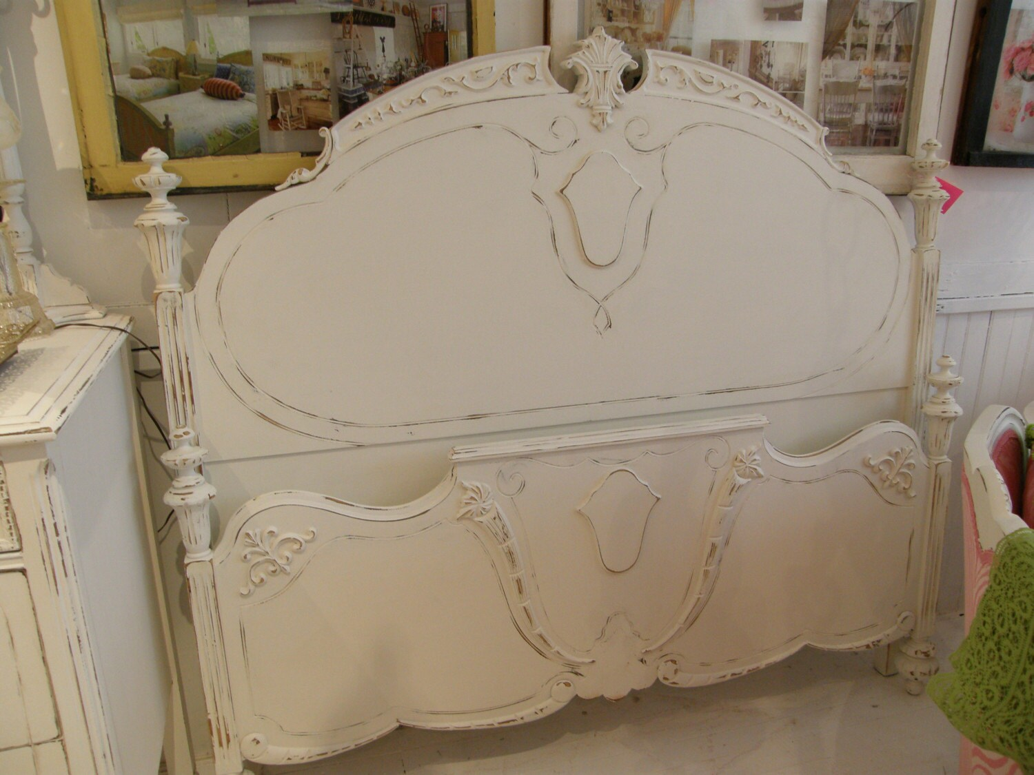 georgous antique full size bed frame white shabby chic. Black Bedroom Furniture Sets. Home Design Ideas