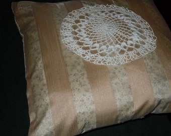 Pillow COVER - Large size, accent or floor pillow cover, Christopher Lowell fabric and Vintage Doily