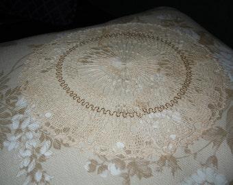 Unique Gold Thread Doily Pillow COVER - Large