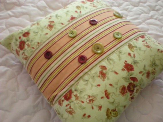 Pillow Cover red Button Deco w morning glories fabric - CLEARANCE