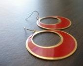 LAST PAIR AVAILABLE Vintage Red Enamel Brass Earrings