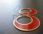 LAST PAIR AVAILABLE Vintage Red Enamel Brass Earrings