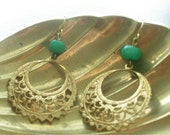 Hunter Green Brass Filigree Earrings