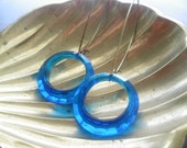 Blue Lucite Antique Brass Earrings