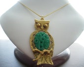 Green Vintage Owl Funky Necklace