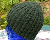 Unisex Green Hand knitted Mini Cable Hat