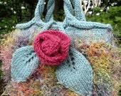 Hand Bag, Purse, Hand knitted, Small, Jewel toned yarn