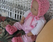 PRETTY IN PINK Bonnet and Bootee Set for Doll or Newborn Baby