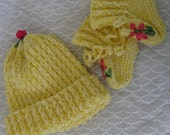 Hat and Bootee Set for Doll or Baby, yellow. Hand Knitted, Cable