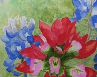 Bluebonnet and Indian Paintbrush # 3,  Set of 4 Blank Note Cards, 4.25x5.5 inches