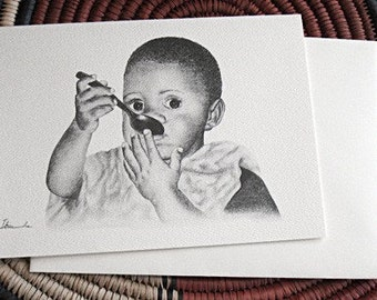 African child eating