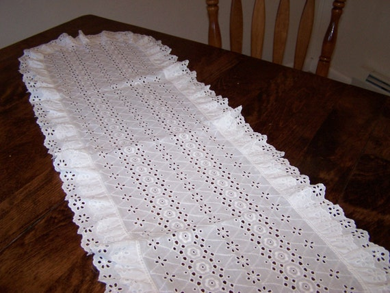 Large Cotton Eyelet Dresser Scarf By Snowycreekdesigns On Etsy