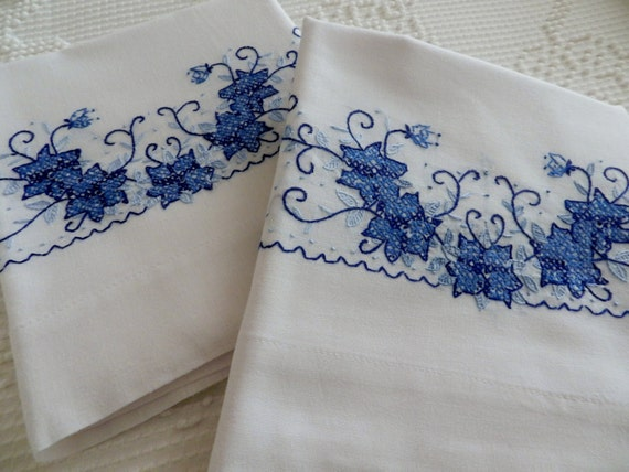 Vintage Blue Cross Stitched Pillowcases