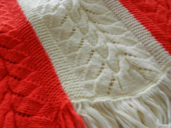 RESERVED FOR JAN Vintage 1963 Large Cable Stitched Afghan