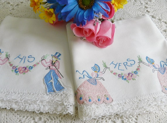 1940s His Hers Southern Belle  Broadway Joe Pillowcases