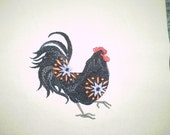 Damask Roosters Embroidery Quilt Blocks on Beige (4 blocks)