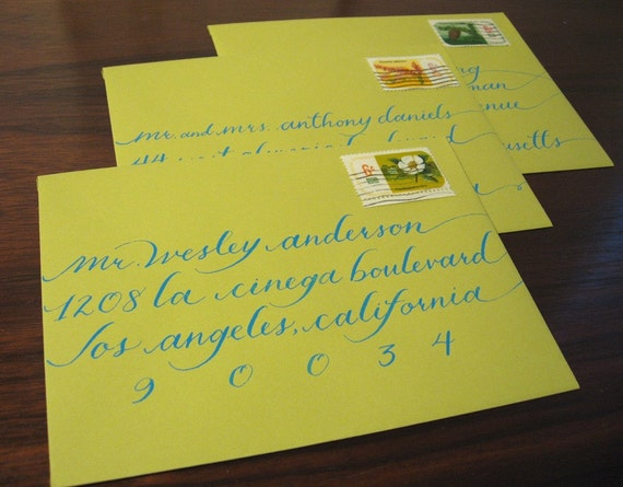 Calligraphy for your wedding invitations- Katie elongated script
