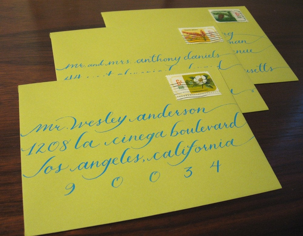 Calligraphy for your wedding invitations katie elongated