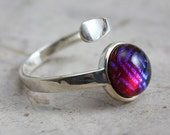 Dichroic Ring - Adjustable Sterling Silver Ring Magenta Nebula dichroic glass