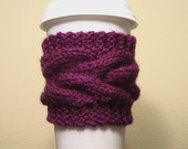 Cable Knit Coffee Cup Cozy in Purple Amethyst by Kim White Creations on Etsy