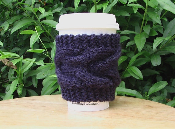Cable Knit Coffee Cozy Cozie Navy Blue by Kim White Creations on Etsy