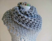 Grey Mohair Triangle Shawl - For her mom gift