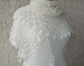 SPECIAL SALE - Ivory Mohair CobwebTriangle Shawl - For her mom gift - Express Delivery