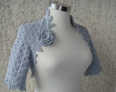 Dreamy Bridal Grey Crochet Shrug, Martha Stewart Shrug - Express Delivery -