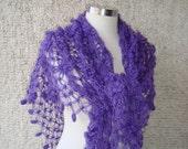 Purple Mohair Full Daisy Flower Triangle Shawl