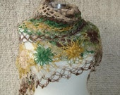 Reserved for BeLuliDesigns - Degrade Green and Mustard  Yellow Mohair  Daisy Flower Triangle Shawl - Express Delivery