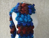 SPECIAL SALE Bubble Scarf , Mohair, Turquoise,  Blue,  Brown - Express Delivery